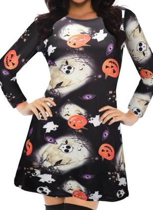 Halloween Geometric Skater Round Neckline X-line Dress (111109515)
