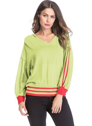 Color Block Others Long Sleeve Casual T-shirts