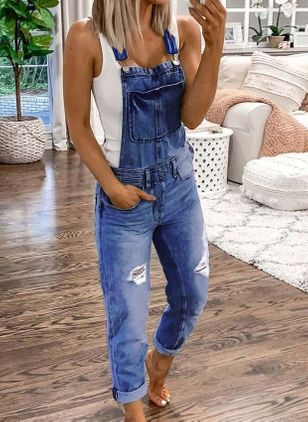Women's Straight Jeans Jumpsuits (4040429)