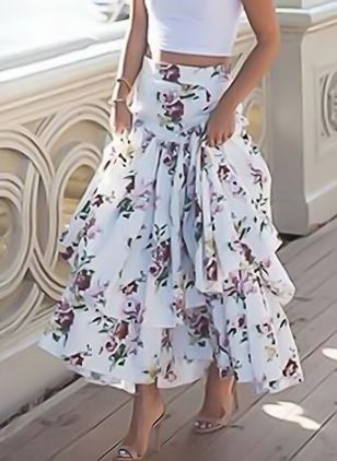 Floral Mid-Calf Casual Pattern Skirts