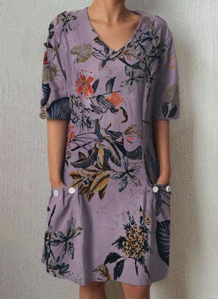 Casual Floral Round Neckline Short Sleeve Knee-Length Dress (101246598)