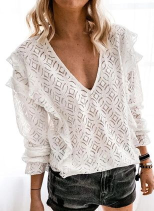 Solid Casual V-Neckline Long Sleeve Blouses (100132644)