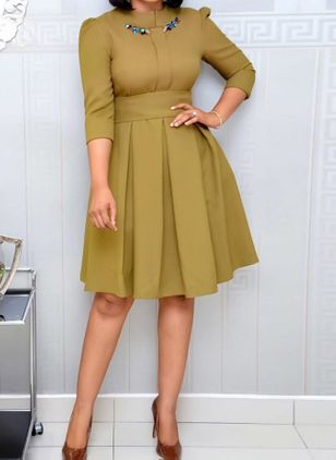 Casual Solid Round Neckline Knee-Length X-line Dress (146737577)