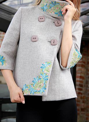 3/4 Sleeves Stand Collar Buttons Coats