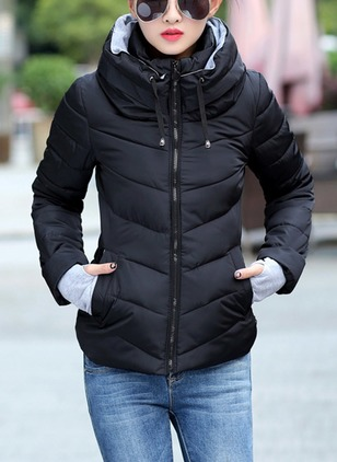 Long Sleeve High Neckline Zipper Pockets Padded Coats