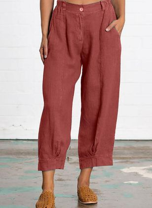 Casual Loose Buttons Pockets Mid Waist Polyester Pants (147077183)