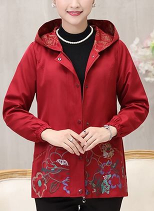 Long Sleeve Hooded Buttons Coats Jackets
