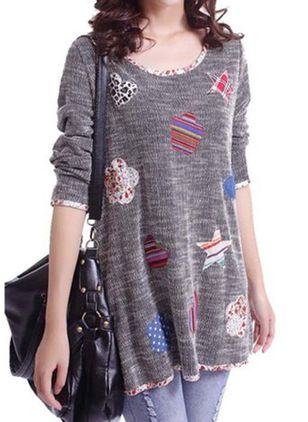 Round Neckline Geometric Cute Loose Long Sweaters (1272638)