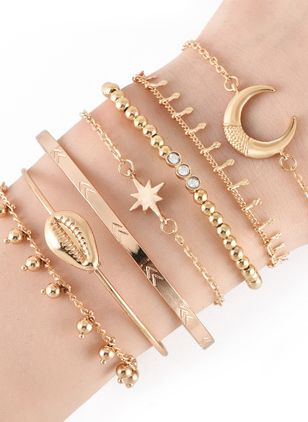 Casual Round No Stone Bangle Bracelets (1525870)