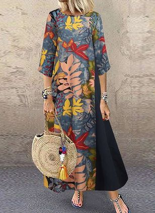 Casual Floral Tunic Round Neckline A-line Dress (135452611)