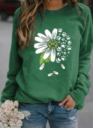 Floral Round Neck Long Sleeve Casual T-shirts (100001877)
