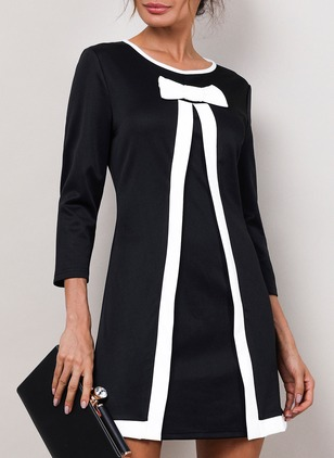 Solid 3/4 Sleeves A-line Dress