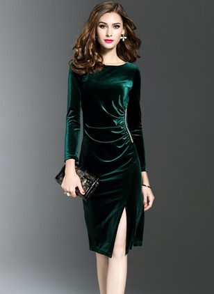 Solid Long Sleeve Knee-Length Bodycon Dress
