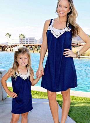 Mommy and Me Color Block Casual Sleeveless Family Outfits (4048474)