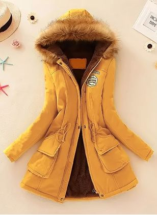 Long Sleeve Hooded Sashes Zipper Pockets Removable Fur Collar Coats (1233661)