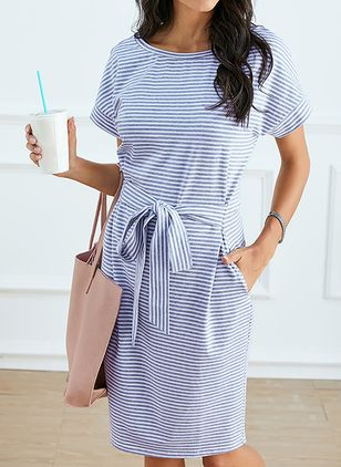 Casual Stripe Pencil Round Neckline Sheath Dress (4037834)