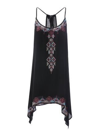 Geometric Embroidery Camisole Neckline High Low Shift Dress