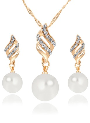 Ball Round Pearls Necklace Earring Jewelry Sets