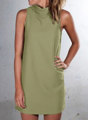 Solid High Neckline Sleeveless Sheath Dress
