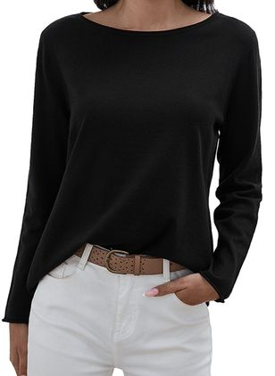 Boat Neckline Solid Casual Loose Regular Shift Sweaters (1260301)
