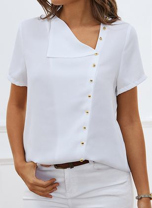 Solid Casual Oblique Neckline Short Sleeve Blouses (1508764)