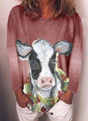 Animal Round Neck Long Sleeve Casual T-shirts (111798723)