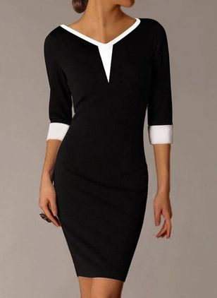 Sexy Color Block Pencil V-Neckline Bodycon Dress (146823110)