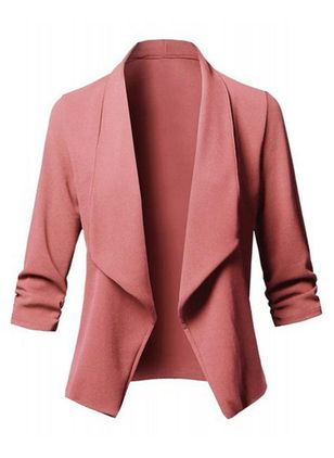 Long Sleeve Lapel Coats (147004753)