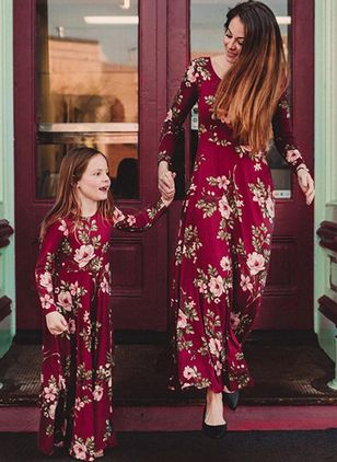 Mommy and Me Floral Casual Long Sleeve Family Outfits (4209887)
