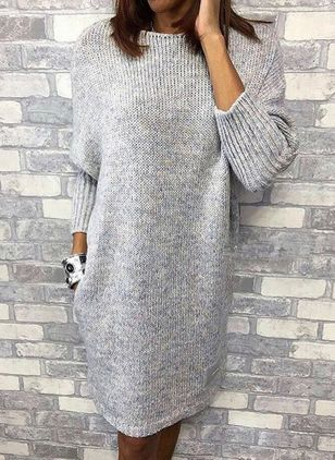 Casual Solid Sweater Round Neckline Shift Dress (1390729)