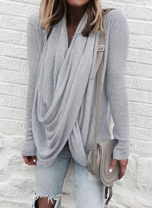 Draped Neckline Solid Loose Regular None Sweaters