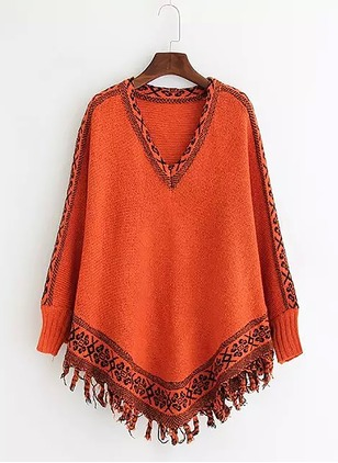 Cotton V-Neckline Solid Cape None Sweaters