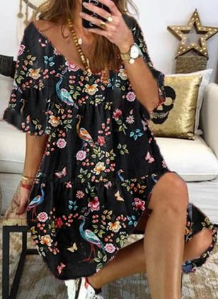 Casual Floral Tunic V-Neckline Shift Dress (146980337)