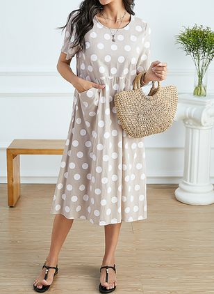 Casual Polka Dot Tunic Round Neckline Shift Dress (1531606)