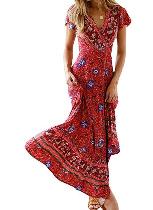 Casual Floral Wrap V-Neckline X-line Dress (1609788)
