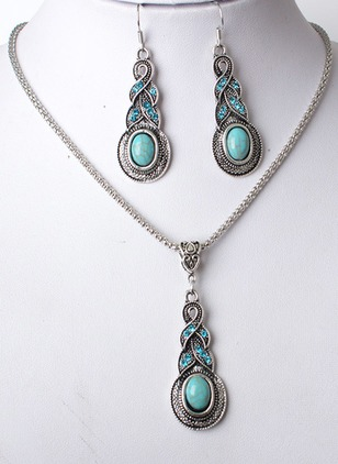 Round Gemstone Necklace Earring Jewelry Sets