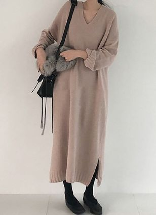 Solid Sweater Long Sleeve Maxi Shift Dress (1278242)