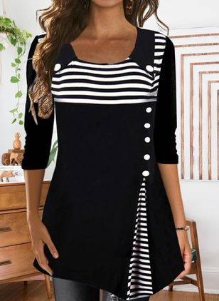 Stripe Casual Round Neckline Long Sleeve Blouses (146658976)
