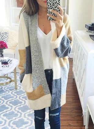 Long Sleeve Collarless Sweaters