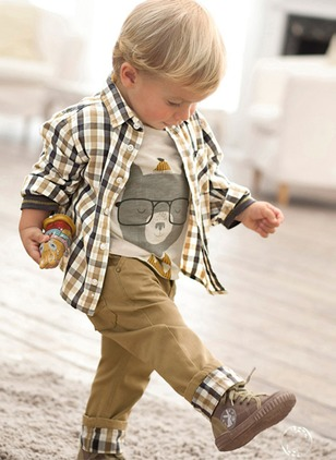 Boys' Plaid Daily Long Sleeve Clothing Sets