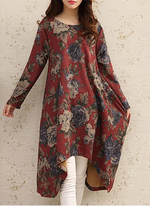 Cotton Linen Floral Long Sleeve Midi Dresses