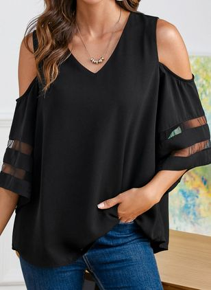 Solid Casual V-Neckline 3/4 Sleeves Blouses (1538618)