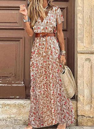 Casual Floral V-Neckline Maxi X-line Dress (4541189)