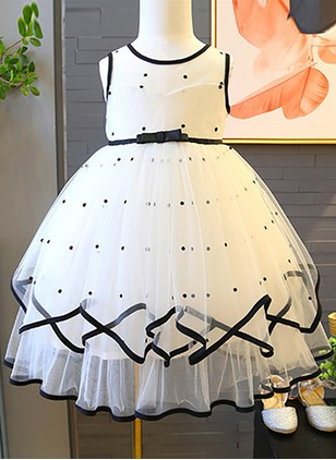 Girls' Polka Dot Party Sleeveless Dresses