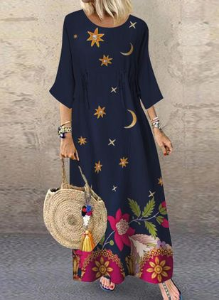 Casual Floral Tunic Round Neckline Shift Dress (101326559)