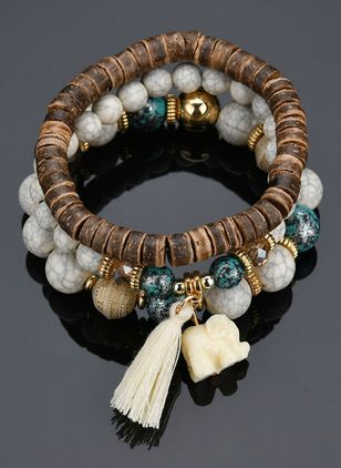 Casual Tassel Ball Animal Gemstone Beaded Bracelets (4126979)