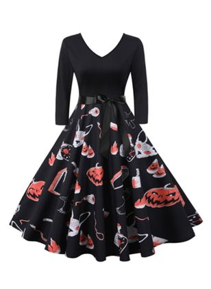 Halloween Color Block V-Neckline Midi X-line Dress (111607829)