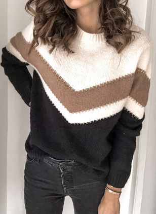 Round Neckline Color Block Casual Loose Regular Shift Sweaters (111109702)