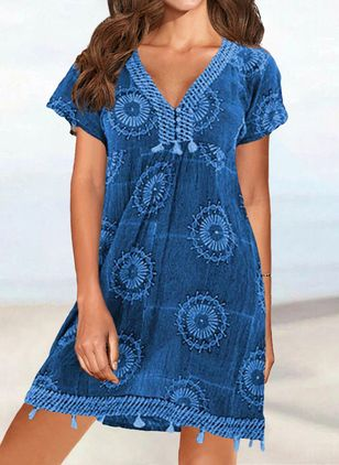 Polyester Geometric Cover-Ups Swimwear (146989144)