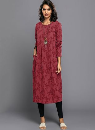 Chinese Casual Solid Pockets Tunic Shift Dress (1255621)